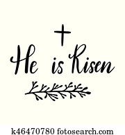 Easter holiday celebration. He Is Risen handwriting lettering design