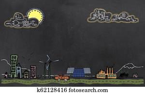 Future Technology and Renewable Energy Concept on Blackboard
