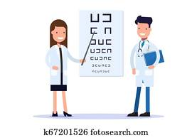 Good doctors, an oculist or an ophthalmologist. A doctor with a pointer points to a poster for an eye examination. Cartoon flat vector illustration.