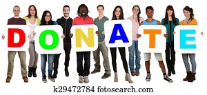 Group of young multi ethnic people holding word donate money donation