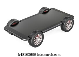 Smartphone on car wheels, 3D rendering
