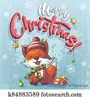 Vector background illustration Marry Christmas cartoon fox