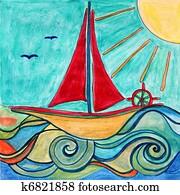 Boat for children room. Original drawing.