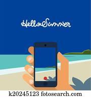 hallo, summer,, hand holding, smartphone, machen, bild, von, sandstrand