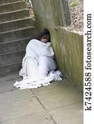 Homeless Girl Sleeping Rough