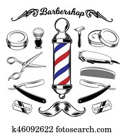 monochrome collection barbershop tools.