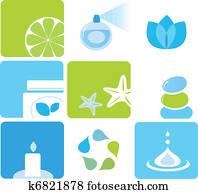 naturel, produits de beauté, et, spa, icônes, et, éléments, -, blue,, vert