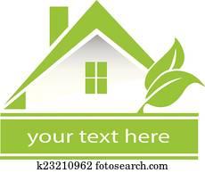 Vector green house leafs logo
