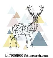 abstrakt, polygonal, deer.