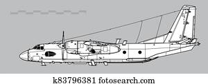 Antonov An-26RT Curl-B. Outline vector drawing