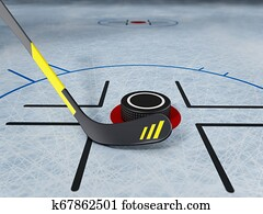 Ice hockey stick and puck on scratched ice background. 3D illustration