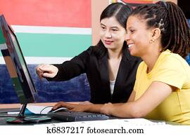 teacher teaching adult student