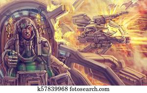 The pilot in the cockpit of a combat robot. Science fiction illustration.