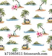 aquarell, tropische, vektor, muster