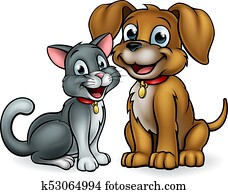 Cat and Dog Pets Cartoon Characters