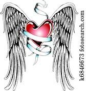 heart ribbon wing
