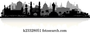 Hyderabad India city skyline silhouette