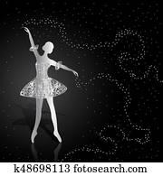 silber, ballerina, auf, dunkel, hintergrund.