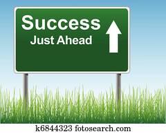 Success road sign.