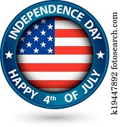 USA Independence Day happy the 4th of july blue label, vector illustration