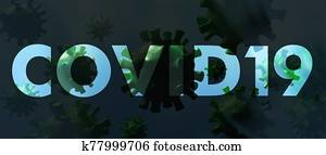 Covid19. Flu coronavirus floating, micro view, pandemic virus infection, chinese flu concept. 3d illustration