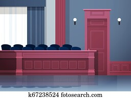 empty jury box seats modern courtroom interior justice and jurisprudence concept horizontal