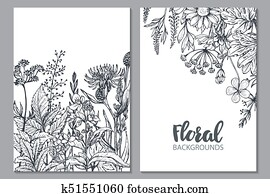 Floral backgrounds with hand drawn herbs and wildflowers.