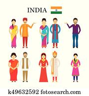 India People in Traditional Clothing