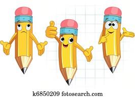 Pencil Character facial expression