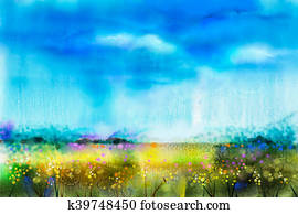 Watercolor painting landscape, wildflower and blue sky