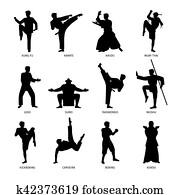 Asian martial arts black silhouettes