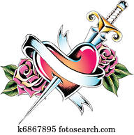 Clipart Corazón Con Espada K6957592 Buscar Clip Art