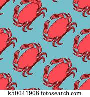 Seafood seamless pattern with red crab, vector illustration