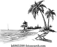 summer, sandstrand, bleistift zeichnen
