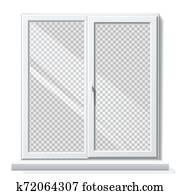 fenêtre de pvc réaliste de vecteur avec modèle vierge blanc