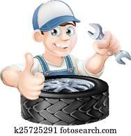 Auto mechanic giving thumbs up