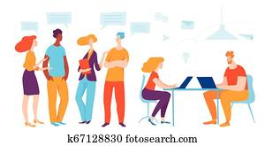 Business concept vector illustration. People work and comunicate.