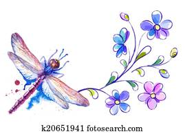 Dragonfly and flowers on the white background