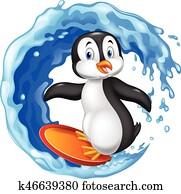 karikatur, surfen, pinguin