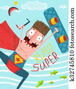 Kitesurfing caricature superman cartoon card design