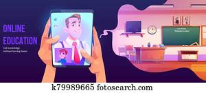 Online education banner, distance study at home