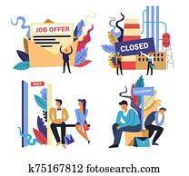 arbeit, und, arbeitslosigkeit, problem, freigestellt, icons,, jobangebot, und, arbeitsplatz, kürzung