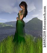 Celtic Princess with Mountain backg