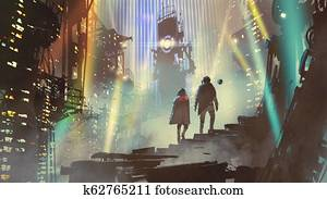 couple in the futuristic world