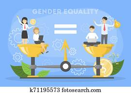 geschlecht, gleichheit, concept., weiblich, und, m?nnlich, zeichen