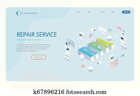 Isometric concept of RPA, artificial intelligence, robotics process automation, ai in fintech or machine transformation. Landing page template