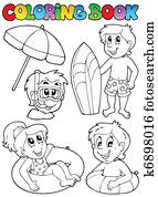 Coloring book with swimming kids