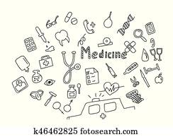 Hand drawn medicine icon set. Medical healthcare, pharmacy doodle icons.