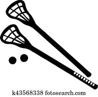 Lacrosse Sticks with balls