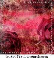 romantic vintage background with dry rose and drops